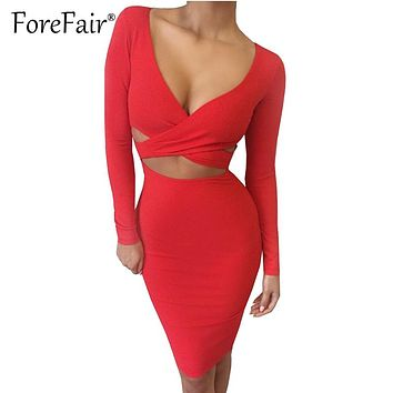 Forefair Sexy Criss-Cross V Neck Bodycon Dress Women Autumn Winter Long Sleeve Night Club Wear PSlim arty Dresses Vestidos