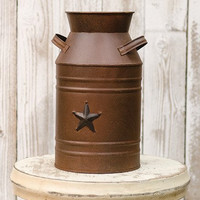Rusty Milk Can w/Black Embossed Star