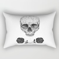 Skull N' Roses Rectangular Pillow by Balazs Solti