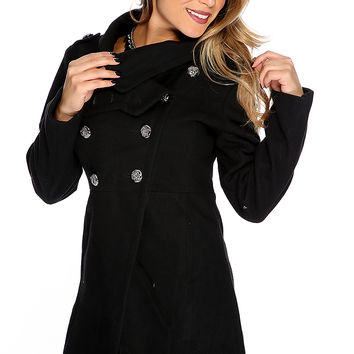Black Double Breasted Baby Doll Coat