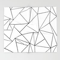 Abstract Dotted Lines Black and White Throw Blanket by Project M