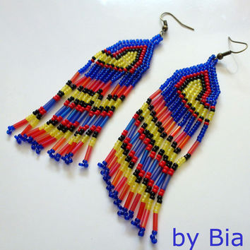 Beaded Native American Earrings Beadwork Native American Jewelry Blue Beadwork Earrings Ethinic Style Traditional Extra Long