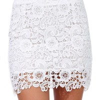 Sheinside Women's White Floral Crochet Bodycon Lace Skirt