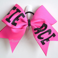 "3"" Wide Luxury Cheer Bow - Fierce on Pink"