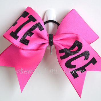 "CUSTOM 3"" Wide Luxury Cheer Bow - Red Bow with TRIBE in black"
