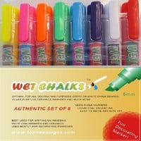 Wet Erase 8 Classic Colors Liquid Chalk Markers Ink Neon Fluorescent Erasable Markers