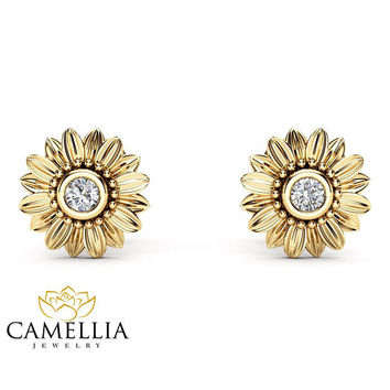 Sunflower Diamond Earrings 14K Yelow Gold Bridal Jewelry Nature Inspired Stud Earrings Anniversary Gift