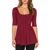 Half Sleeves Round Neck Stretch Knit Trapeze Top