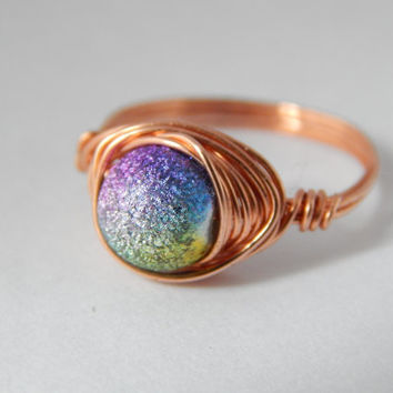 Pure Copper Wire Wrapped Ring with frosted Rainbow bead - Wire Wrapped Jewelry Handmade - Rainbow Ring - Pure Copper Ring
