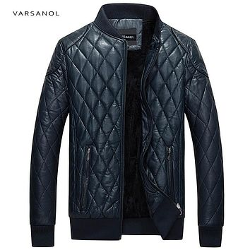Varsanol Brand Leather Bomber Jacket Men Long Sleeve Zipper Loose Casual Warm Outwear Solid Waterproof Overcoat Plus Size M-4XL