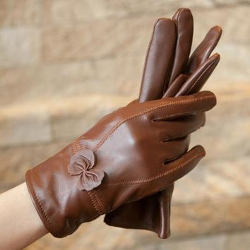 Female Genuine Leather Sheepskin Butterfly Knotl Gloves Women Winter Thin/Thick Plus Plush Cashmere Warm Bow Driving Gloves L74
