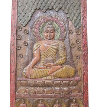 Hand Carved Buddha Carved Wood Panel Architectural Wall Sculpture India