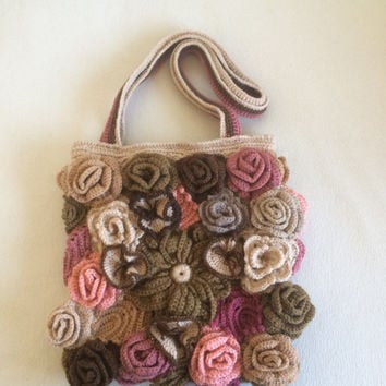 Free Form Crochet  Roses Art Pouch