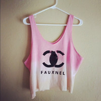Dip dyed fauxnel crop tank