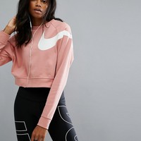 Nike Long Sleeve Cropped Sweatshirt In Pink at asos.com