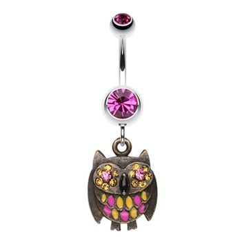 Vintage Owl Sparkle Belly Button Ring