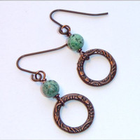 Earthy, Natural Stone,  African Turquoise Earrings with Antique Copper Rings.  Boho Earrings.  Dainty Earrings