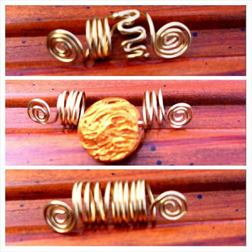 3 gold wire loc dreadlock dreads accessories hair falls adornments silver or copper