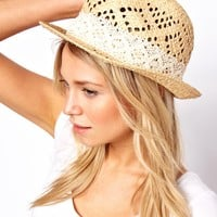 Oasis Lace Trim Trilby Hat