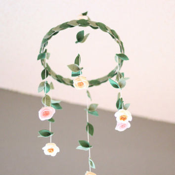 Girls Crib Mobile, Felt Flower Mobile, Girls Nursery Decor, Floral Nursery Decorations, Pastel Crib Mobile, Flower Chandelier, Boho Nursery
