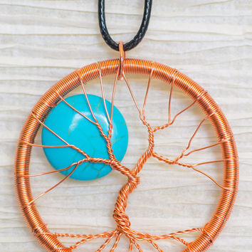 Copper Wire Wrapped Tree of Life pendant with Turquoise Moon Accent
