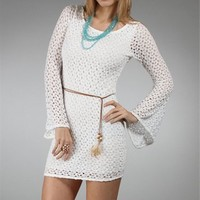 Ivory Crochet Bell Sleeve Dresses-windsorstore.com