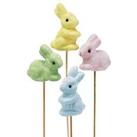 (Set of 4) Bunny Picks in 4 Pastel Colors Decorative