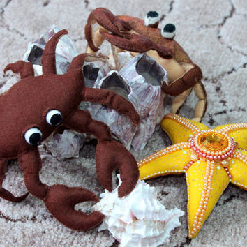 soft toy, crab, brown, yellow, marine life, textile toys marine style, decoration, interior decoration