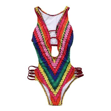 Women One Piece Bikini Swimsuit Beachwear Digital Print Rainbow Sexy Paded Swimwear Bathing Suit