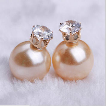 Double Sided Matte Big Pearl Stud Earrings