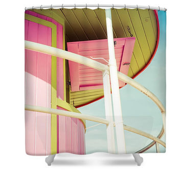 Miami Beach Pink Colorful Polyester Fabric Shower Curtain