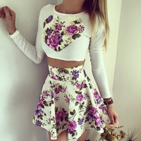 White Floral Print Long Sleeve Crop Top and High-Waist Skirt