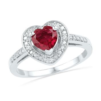 Sterling Silver Womens Round Lab-Created Ruby Heart Diamond Ring 1.00 Cttw