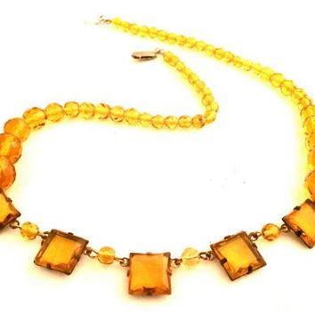 Czech Vintage Jewelry yellow crystals Art Deco Necklace