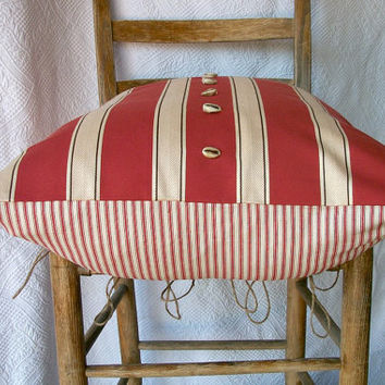 Awning Stripe Pillow Cover Designer Decorative Fabric in Rustic Brick Ivory Brown Cotton
