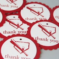 Baseball Party Favor Gift Tag Set of Eight