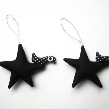 Two Black stars with birds Felt Decoration wall hanging by Intres