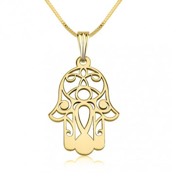 24K Gold Plated Hamsa Hand of Fatima Pendant Necklace