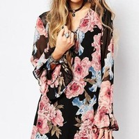 Spring Breeze Floral Bell Sleeve Shift Dress