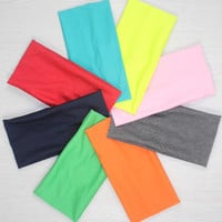Fashion women sport Yoga wide cotton candy color headband high quality absorb sweat elastic wide headband for women