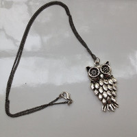 Woodland owl-Pendant necklace- silver