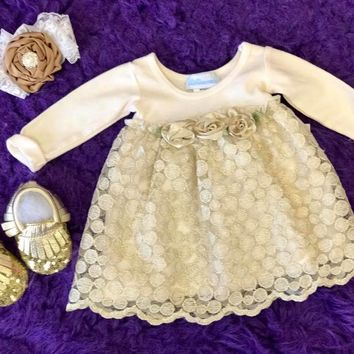 Bebemonde Beautiful  Fall Infant Sparkle Gold & White Rose Mesh Baby Dress