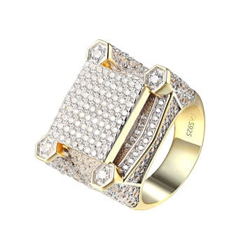 Custom Sterling Silver Ring Wedding Engagement 14k Gold Finish Simulated Diamond