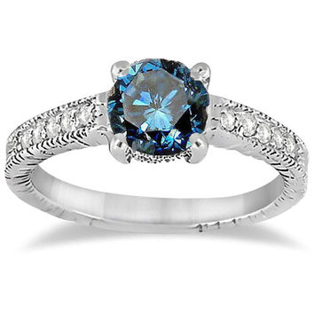1/2CT Blue & White Diamond Vintage Engagement Ring White Gold Antique Milgrain Size 4-9