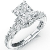 1.56 Carat Designer Four Prong Round Diamond Engagement Ring w/ Princess Cut Center (D Color SI2 Clarity)