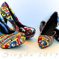 Marvel Comic Book-2 pair-Women's Pumps and Flat Matching Set-Hulk-Xmen-Captain America-Iron Man-Spiderman-Custom Decoupage Shoes-
