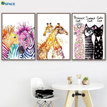 Watercolor Zebra Giraffe Cat Nordic Posters And Prints Wall Art Canvas Painting Decoration Pictures For Baby Girl Boy Room Decor