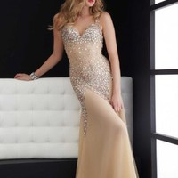 Column Sweetheart Champagne Floor-length Prom Dress With Sequin 5027