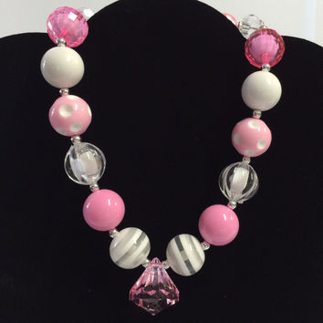 Pink Cotton Candy Chunky Necklace