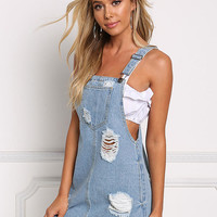 Light Denim Distressed Dress Overalls